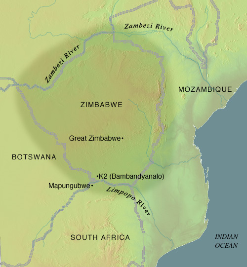 great zimbabwe africa map