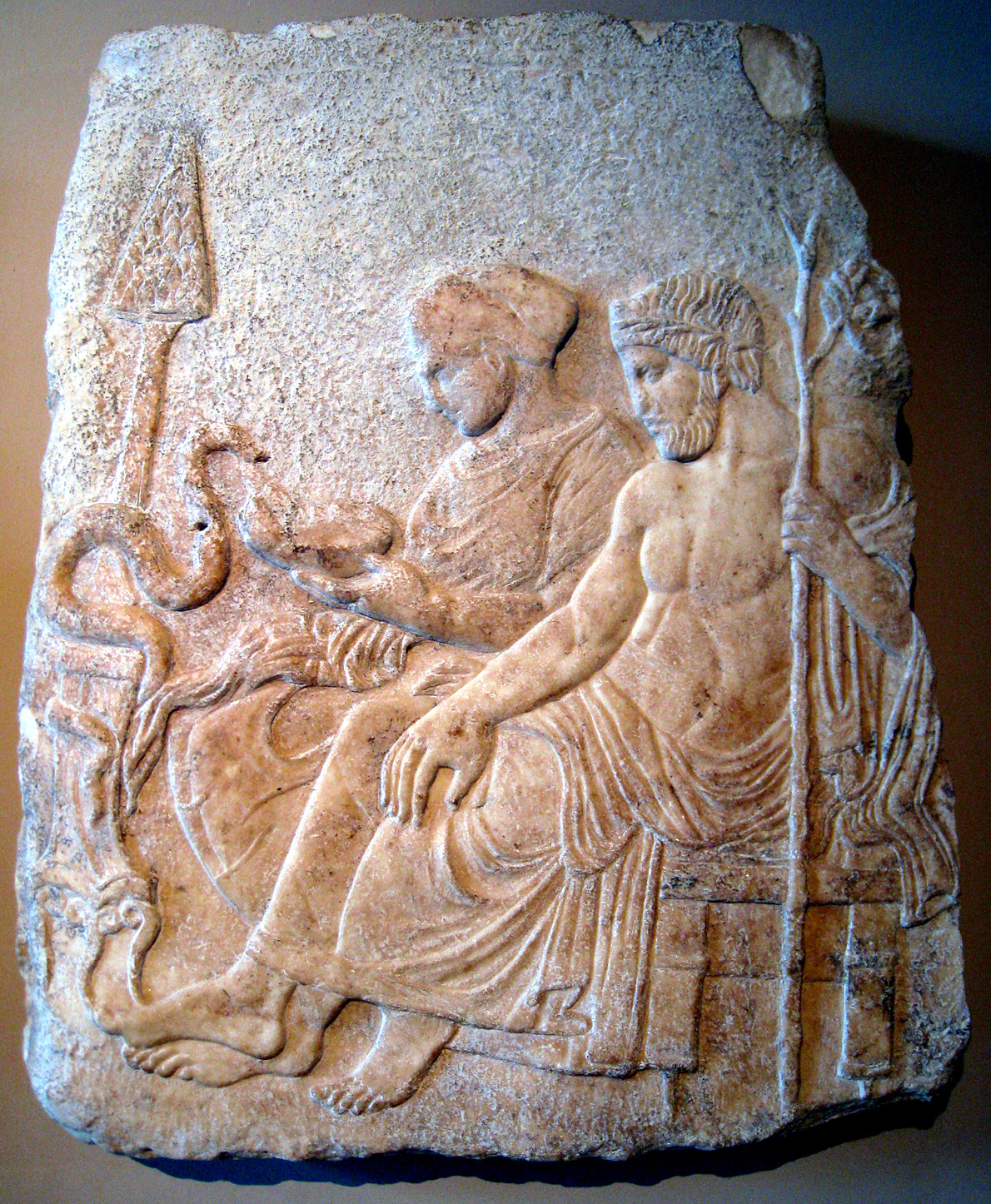 Asklepios and his daughter Hygieia, from Therme Greece, late 5th c. BCE, Istanbul Archaeology Museum (Image in public domain)