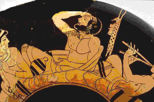 Is this a Greek expression of emotional and physical distress from wine or ecstasy? Greek Symposium, early 5th c. BCE (Image in public domain)
