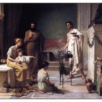"John W. Waterhouse, ""A Mother Bringing her Sick Child to the Temple of Asklepios"", 1877 (Image in public domain)"