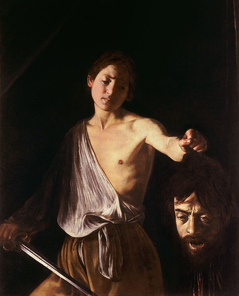 Caravaggio, David with the Head of Goliath, 1609-10, 125 x 101 cm, Galleria Borghese, Rome (image in public domain)