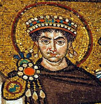 Mosaic Image of Justinian, 6th. c,  from San Vitale, Ravenna (Image in public domain)