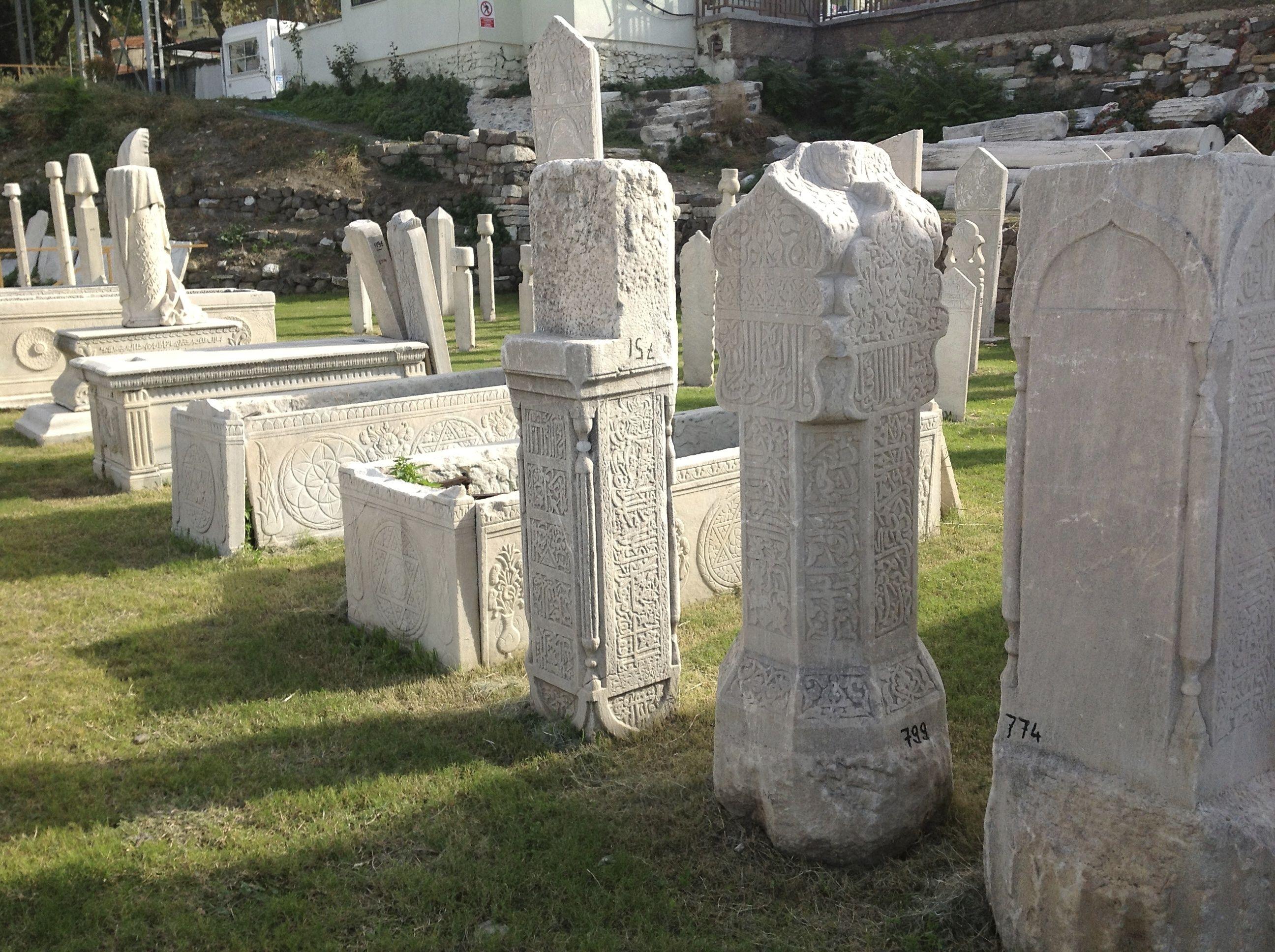 Ottoman period funerary headstones in Izmir (ancient Smyrna agora) (Photo P. Hunt 2012)