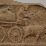 Roman wine trade oxcart, from grave stele, Augsburg Roman Museum (Photo in public domain)