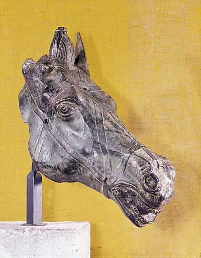 Roman bronze horse head, 2nd c. CE, Augsburg Roman Museum (image courtesy of the Augsburg Roman Museum)