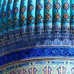Detail of the tiled Dome of the Khoja Ahmad Yasawi Mausoleum, late 14th c.  (Image in public domain)