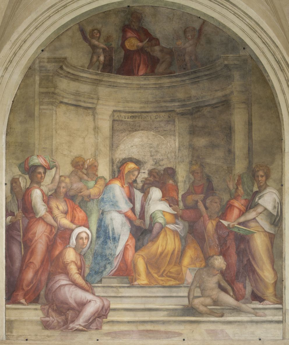 Figs. 1.1-3 Andrea del Sarto, Journey of the Magi, 1511 (detached fresco, 417 x 315cm); Rosso Fiorentino, Assumption of the Virgin, c.1513 (detached fresco, 390 x 381cm); Pontormo, Visitation, 1514-1516 (detached fresco, 408 x 338cm), Florence, Santissima Annunziata, Chiostrino dei Voti, patrimonio del Fondo Edifici di Culto – Minstero dell'Interno. (Courtesy of Palazzo Strozzi Foundation Press Office)