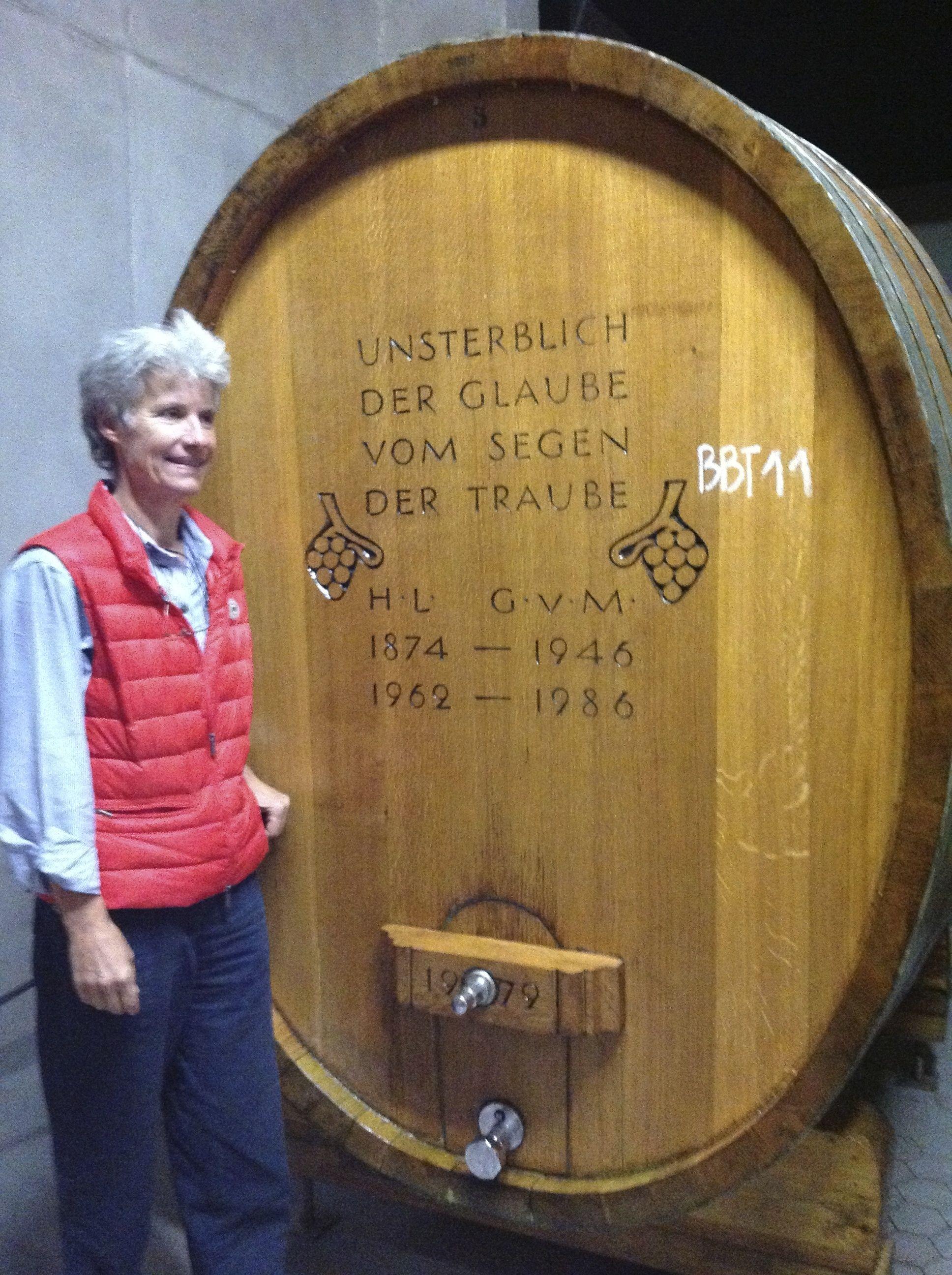 Helene von Gugelberg in front wine tun (fudern) at Schloss Salenegg (Photo P. Hunt  2013)