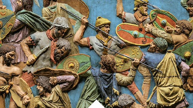Battle Scene - recolored- on Trajan's Column, Rome (Image Courtesy of National Geographic Media)