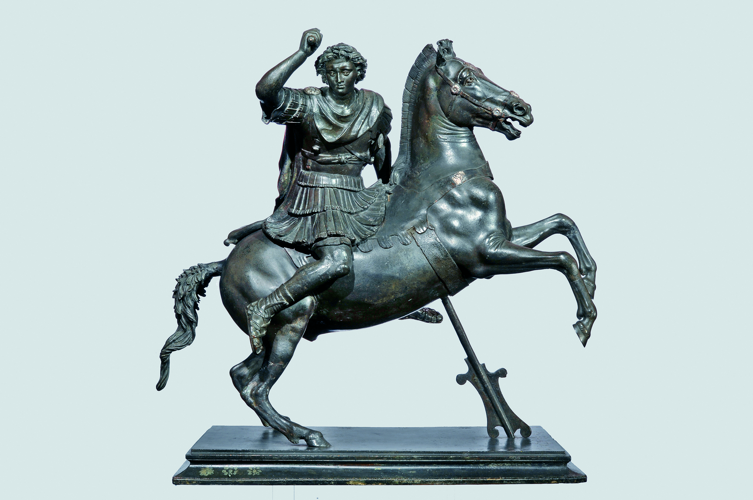 Statuette of Alexander the Great on Horseback First century BCE, bronze, with silver inlays, 49 x 47 x 29 cm, Naples, Museo Archeologico Nazionale