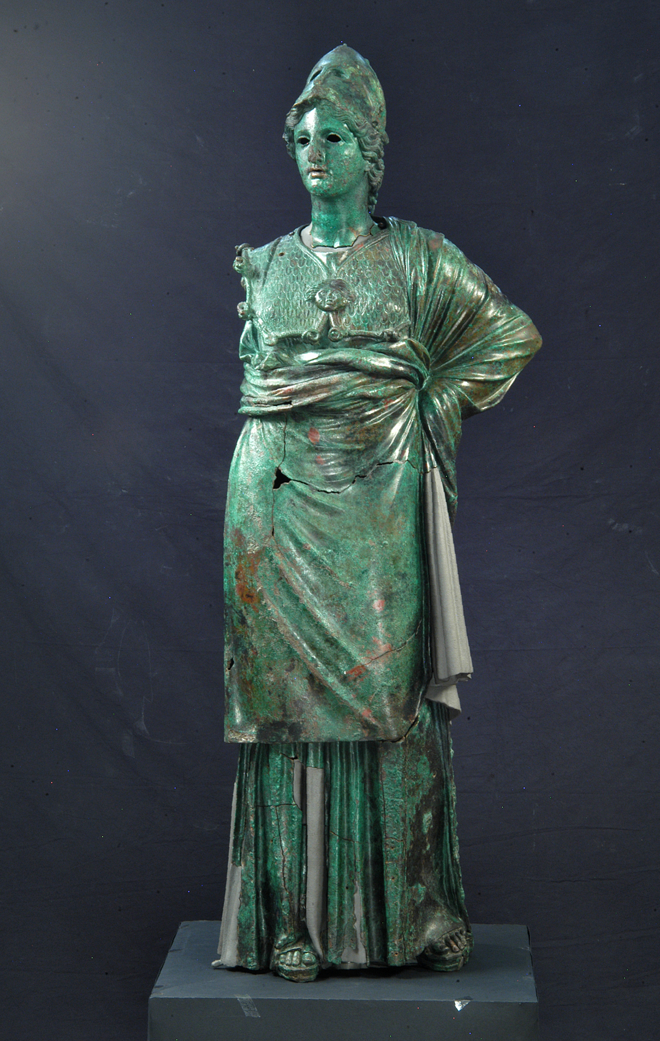 Athena (Minerva of Arezzo) 300–270 BCE, bronze, copper, 155 x 50 x 50 cm,  Florence, Museo Archeologico Nazionale (courtesy of Florence exhibition)