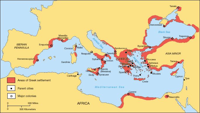 Greek Mediterranean Colonization from Archaic Period onward (image in public domain)