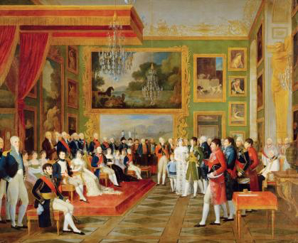 Eugène de Beauharnais with Prinzessin Auguste Amelie of Bayern in München, 13 January 1806 (Francois Guillaume Ménageot, 1808, Paris, Musée national des châteaux de Versailles et de Trianons)