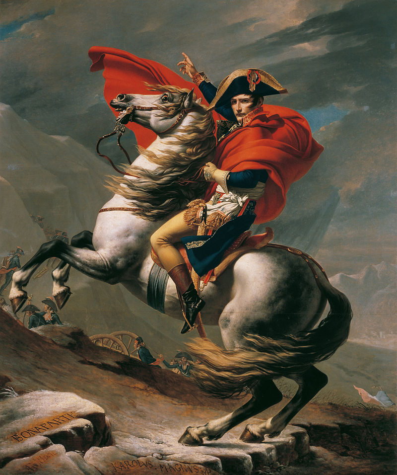 Napoleon at the Great St. Bernard Pass, Jacque-Louis David, 1801, Belvedere Gallery, Vienna