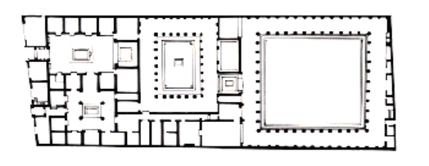 Plan of House of Faun, Pompeii (+50k sq ft), note two largest interior spaces are garden areas (Image courtesy of Michael Grant and Rachel Kitzinger, 1988