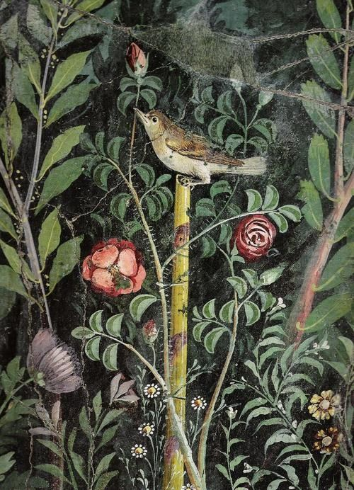 Detail of Roman garden wallpainting from the House of the Golden Bracelets, Pompeii (Image in public domain)