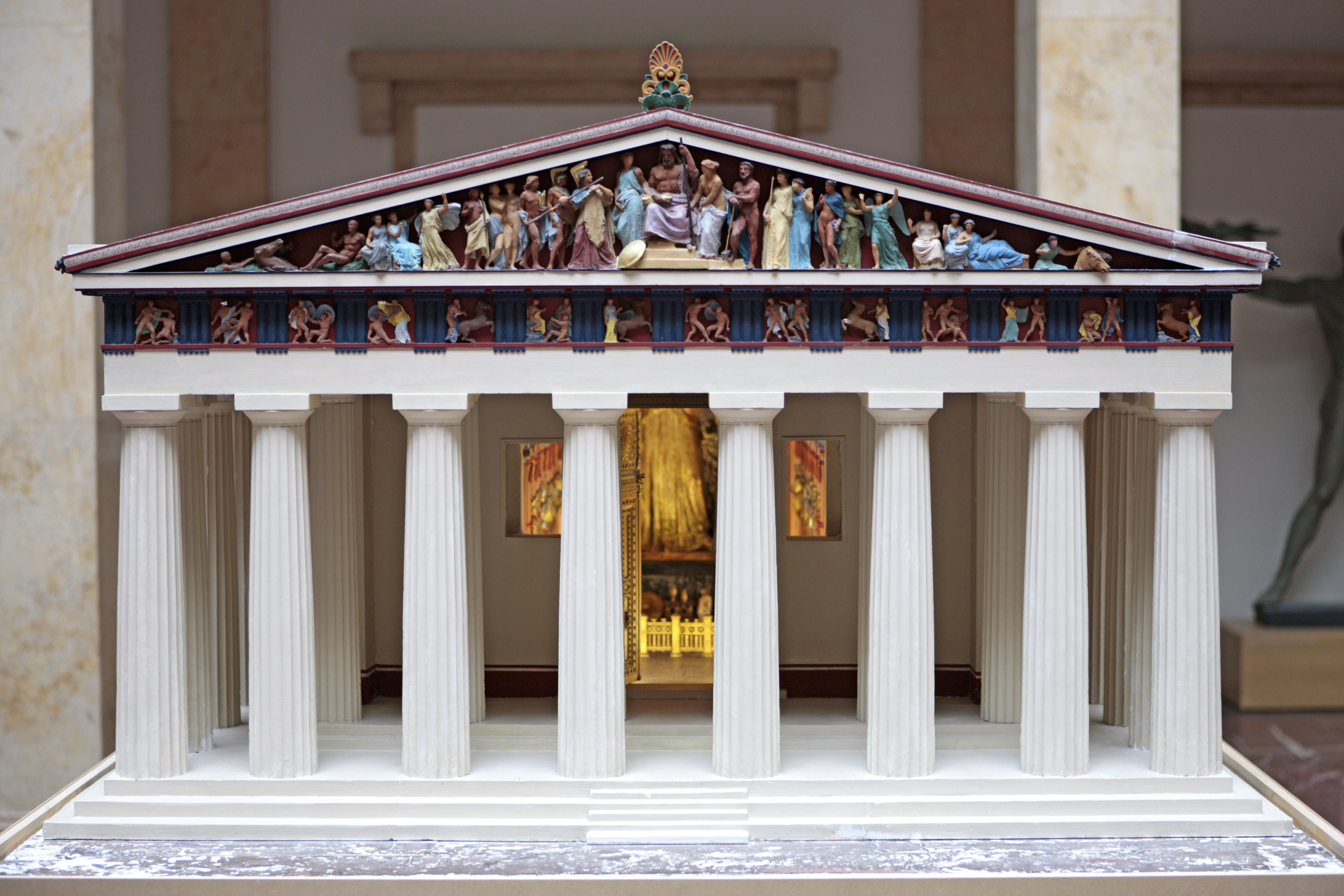 Fig. 1 Reconstruction model of the Athenian Parthenon, facade and cella with the cult image of Athena Parthenos, 19th C, permanent loan by the Metropolitan Museum, NY, in Munich since 2005