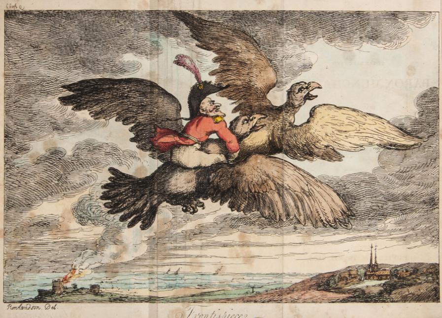 Baron Munchausen, frontispiece, Thomas Rowlandson, 1809 (public domain)