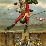 "Gottfried Franz, ""Munchausen Riding the Cannon Ball"" circa 1896  (image public domain)"
