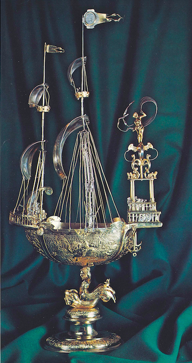 Fig 2 Drinking vessel in the form of a ship, Caspar Hentz, c. 1594, University Archive Munich