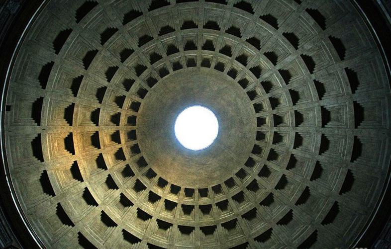 diagram of the  Pantheon dome   Rome      AD completed by Emperor  Hadrian Erenow